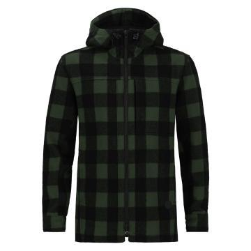 Swanndri Men's Hudson Wool Hoodie - Olive/Black Check