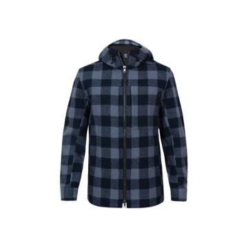 Swanndri Men's Hudson Wool Hoodie - Slate/navy check