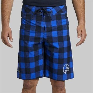 Swanndri Mens Offshore Board Short - Blue/Black Check