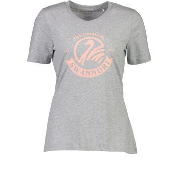Swanndri Women's Heritage Logo Tee - Grey Marle/Peach Coral