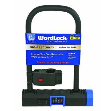 WordLock 4 Dial U Lock 115mm x 203mm w/ Bracket