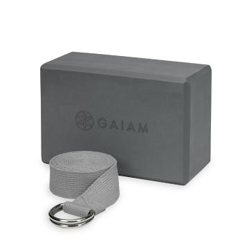 Gaiam Yoga Block & Strap Combo Grey