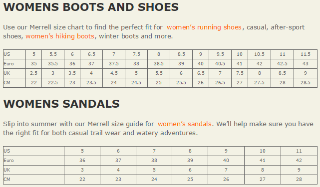 New Running Shoes For Your Marathon Training Or Casual To Make Everyday An Adventure Use The Merrell Size Guides Below Find Right Fit