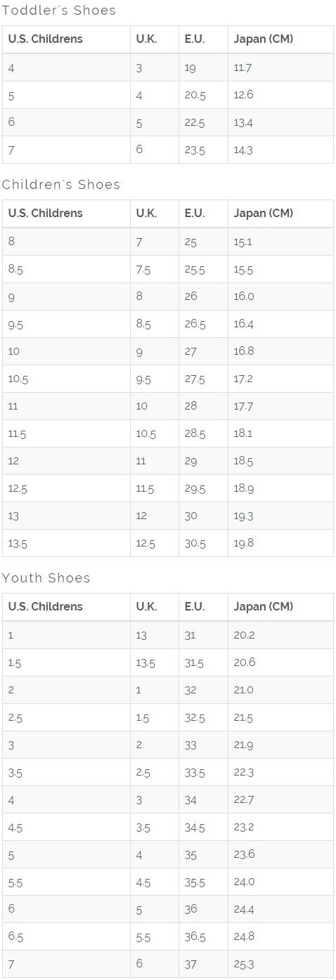 Baby Shoes Size Chart Nz